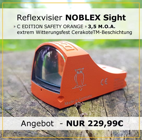 Reflexvisier NOBLEX sight C 3,5 MOA in Orange inkl. Montage Weaver