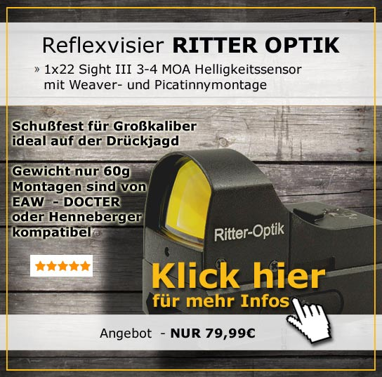 Ritter Optik Reflexvisier 1x22 Sight III 3-4 MOA mit Weaver- und Picatinnymontage