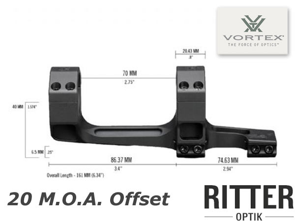 Zielfernrohrmontage Vortex Precision 20 moa Extended Cantilever 30mm